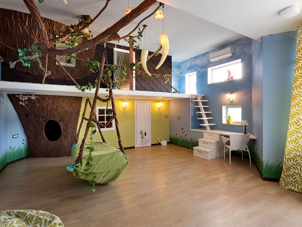 Voorbeeld van oerwoud tarzan thema in slaapkamer